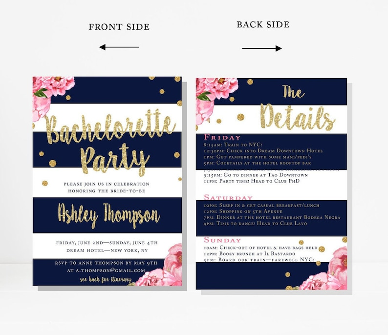 Bachelorette Party Invitation, Itinerary, Printable, Pink, Navy Stripes,  Hens Party, Gold Confetti, Floral, Personalized, Custom, 5
