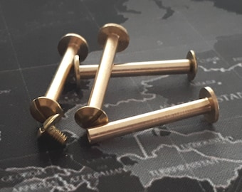 6 pcs 9x30 mm raw brass chicago screwing ,clasp ,screwing,look,rivets