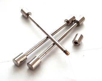 2 pcs 7x55 mm silver tone barbell clasp, screwing ,clasp ,screwing,look,rivets