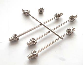 2 pcs 6x50 mm silver tone   barbell clasp, screwing ,clasp ,screwing,look,rivets