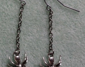 Spider Drop Earrings, Halloween Spiders,
