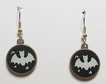 Halloween Bats White with black backround.
