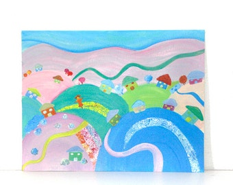 Colored hills and houses acrylic painting kids painting