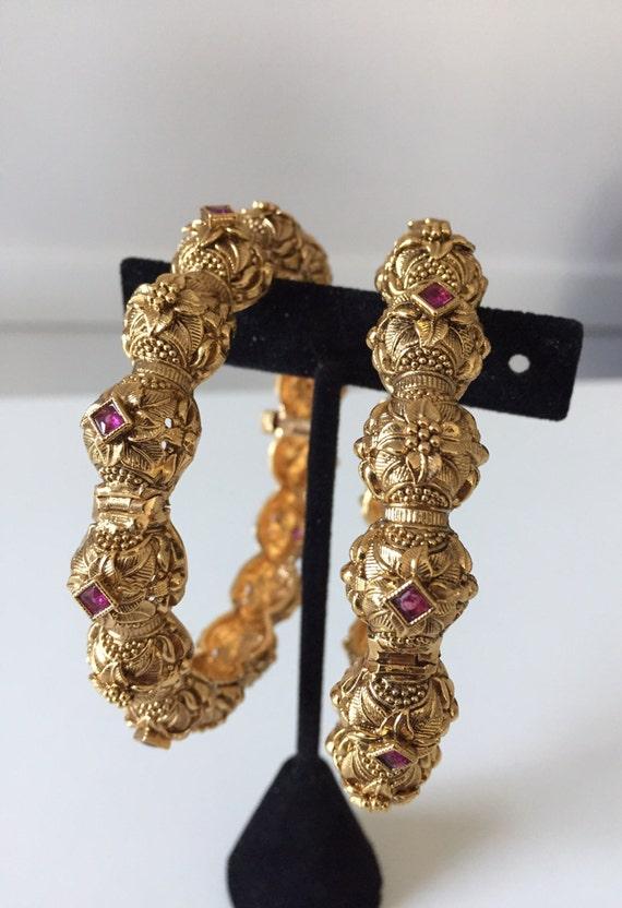 4 Antique bangles  Indian Jewelry Indian Kada Kemp Bangle Gold Kada  Bollywood Jewelry