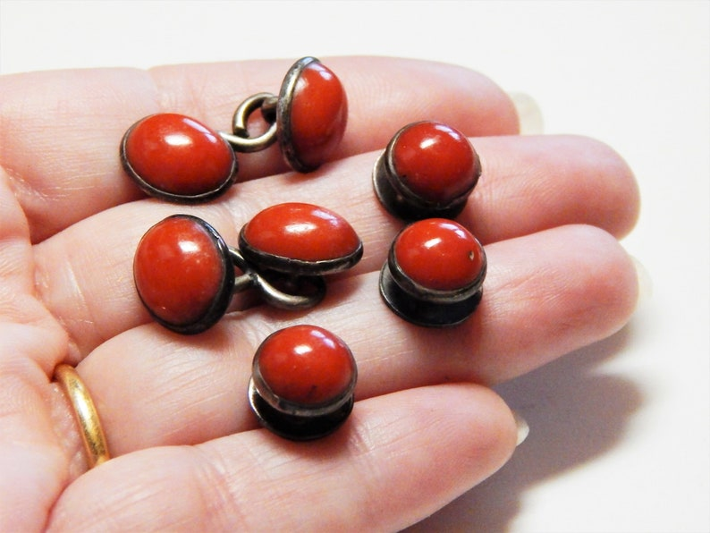Antique Coral Antique Early Victorian Mens Genuine Coral Cufflinks /& Studs Shirt Dress Set Coral Cufflink Stud Set Coral Set Coral