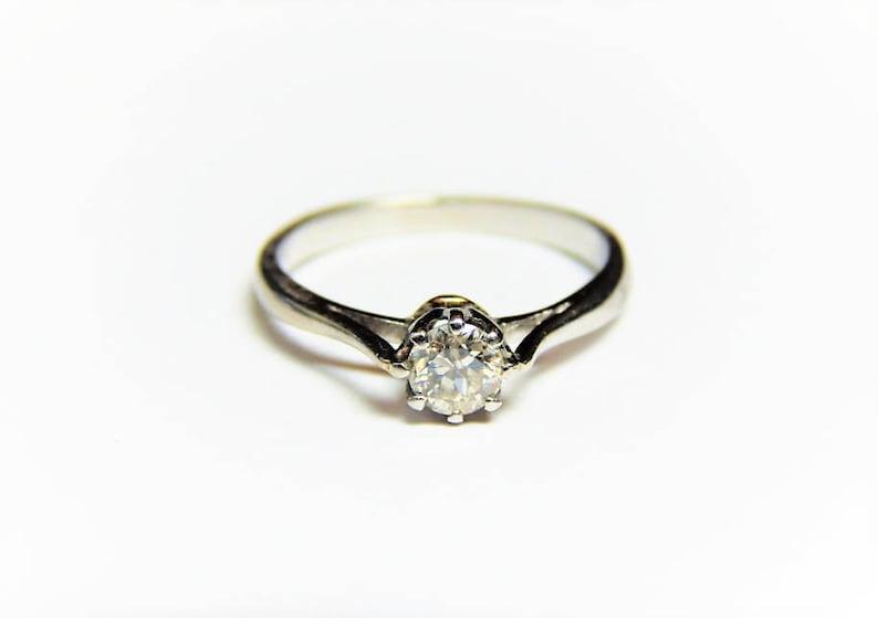 Diamond Engagement Ring Diamond Solitaire Ring 18K White Gold .25 Carat Diamond Solitaire Ring 18K Promise Ring 14 Ct Diamond Ring