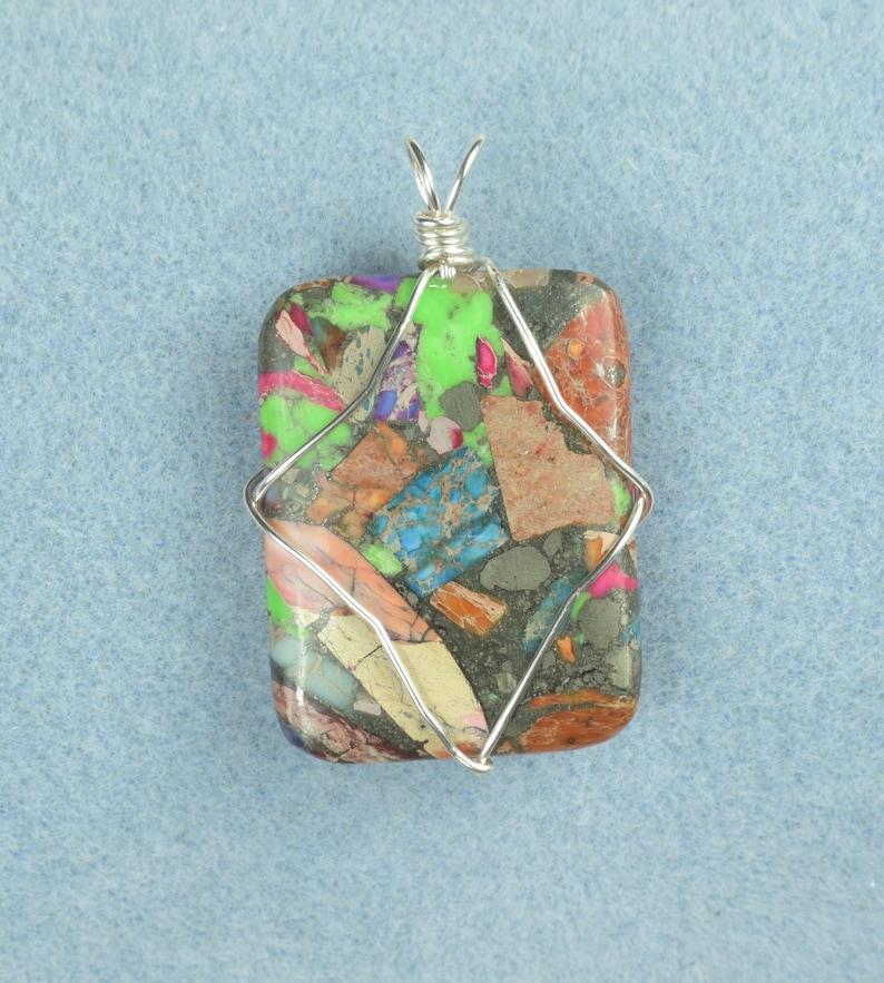 Custom Mixed Impression Jasper Silver Color Wire Wrapped Pendant