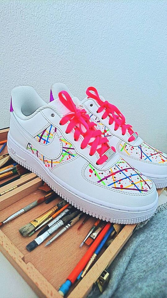 official photos 73afc b70a1 Nike Air Force One neon custom   Etsy