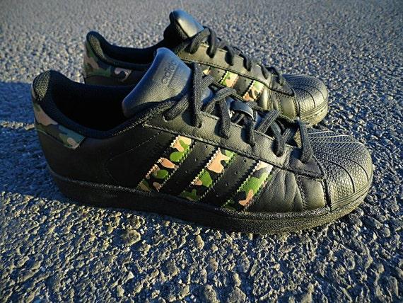 Adidas Superstar BLACK CAMO | Etsy