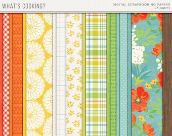 What's Cooking? - Summer Digital Papers - 12 x 12 - Scrapbooking Pack