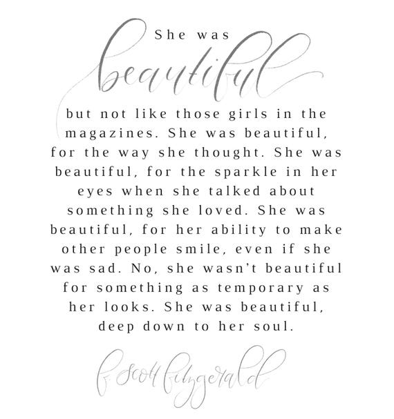 F Scott Fitzgerald Fitzgerald Quote She Was Beautiful Etsy