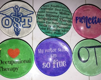 Occupational Therapist glass magnets. 1 inch (25mm) set of 6