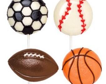 1 Dozen Sports Ball Chocolate Lollipop-Boys Birthday Party Favors-Sports Party Favor-Candy Buffet-Dessert Table Treats