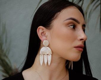 contemporary jewelry ivory polymer clay earrings cream modern earrings Modern Lightweight Statement earrings lulupo designs