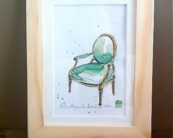 "Original Watercolor - Art - Framed - Home Decor - French Green Armchair ""Louis XVI"""