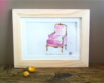 """Original Watercolor - Art - Framed - Home Decor - French Pink Armchair """"Bergere Louis XV"""""""