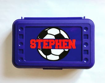 Personalized Pencil Box, Soccer Pencil Box, Back to School, School Supplies, Pencil Case, Pencil Box