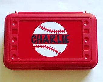 Personalized Pencil Box, Baseball Pencil Box, Back to School, School Supplies, Pencil Case, Pencil Box, Baseball, Softball Pencil Box