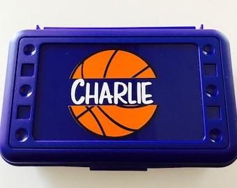 Personalized Pencil Box, Basketball Pencil Box, Back to School, School Supplies, Pencil Case, Pencil Box