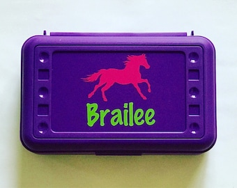 Personalized Pencil Box, Horse, Back to School, School Supplies, Pencil Case, Pencil Box, Horse Pencil Box, Horse Pencil Case