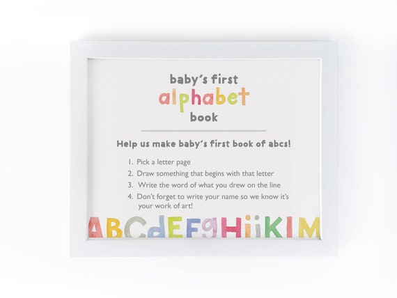 Baby Shower Alphabet Book Sign Printable Shower Activity Etsy