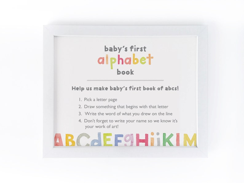 photo about Printable Alphabet Book known as Little one Shower Alphabet Ebook Indicator / Printable Shower Game / Do-it-yourself Youngster E book Directions / Boy or girl Shower Obtain / Youngster Shower Match