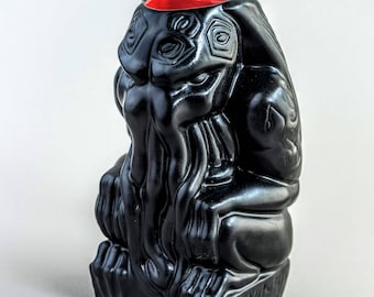 Cthulhu Tiki Mug - handmade - black/red - limited edition. Making more, ships in about 2 weeks