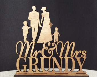 Bride and Groom Wedding Cake topper, Family Wedding Cake Topper a little girl and a little boy, Mr and Mrs Cake topper, Rustic wedding