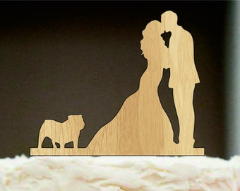Silhouette wedding cake topper, Couple Kissing with English Bulldog, wedding cake topper, Bride and groom cake topper, Wooden Cake Topper