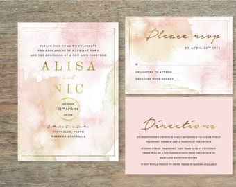 Watercolour 3 Piece Wedding Invitation Suite - Print at Home Files or Printed Invitations - Pink Gold Wedding Stationery  - Watercolor