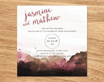 Watercolour Engagement Invite - Print at Home File or Printed Cards - Rose Gold Blush Minimalist Watercolor Engagement Invitation