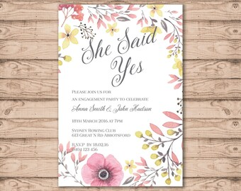 Engagement Party Invitation - Print At Home File or Printed Invitations - Desert Reef Engagement Invite