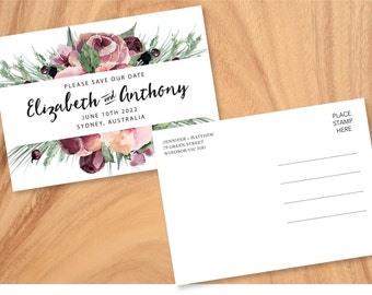 Plum Rose Save The Date Card - Print at Home File or Printed Cards - Personalised Dusty Pink Floral Save The Date Winter Invite Postcard