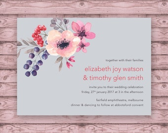Floral Wedding Invitation - Print At Home File or Printed Invitations - Floral Modern Personalised Watercolor Wedding Invite - Rustic