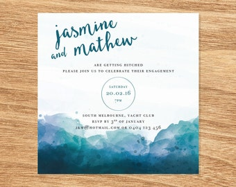 Watercolour Engagement Invite - Print at Home File or Printed Cards - Blue Mountains Minimalist Watercolor Engagement Invitation