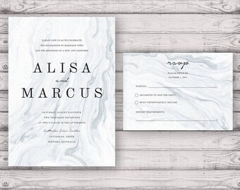 Marble Wedding Invitation Suite - Print at Home Files or Printed Invitations - Monochrome Classic Marble Personalised Wedding Suite