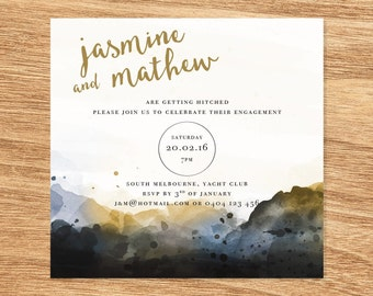 Watercolour Engagement Invite - Print at Home File or Printed Cards - Gold Mountains Minimalist Watercolor Engagement Invitation