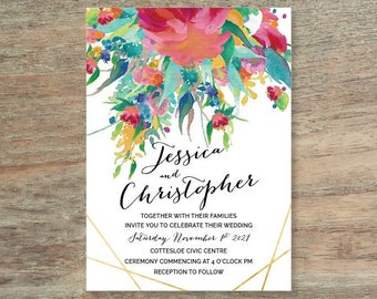 Personalised Floral Watercolour Wedding Invitation - Print At Home File or Printed Invitations - Pink Red Watercolor Wedding Invite