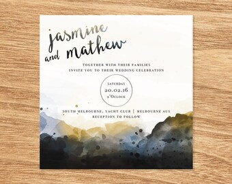 Watercolour Wedding Invite - Print at Home File or Printed Cards - Gold Grey Minimalist Watercolor Wedding Invitation