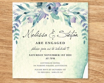 Pretty Floral Forest Watercolour Engagement Invitation - Print at Home File or Printed Cards - Watercolor Personalised Invite