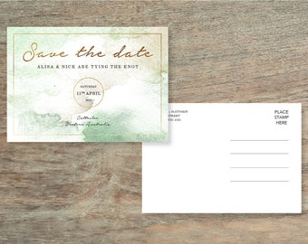 Green and Gold Watercolour Save The Date Card - Print at Home File or Printed Cards - Personalised Watercolor Save The Date Invite Postcard