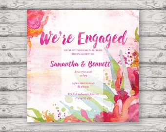 Watercolour Engagement Invitation - Print at Home File or Printed Cards - Native Watercolour Personalised Engagement Invitation Design