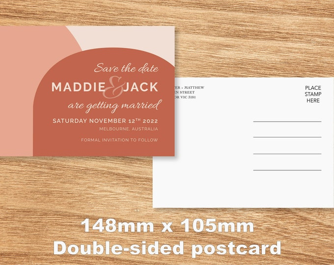Terracotta Arch Save The Date Card - Print at Home File or Printed Cards - Personalised Pink Terracotta Save The Date Invite Postcard