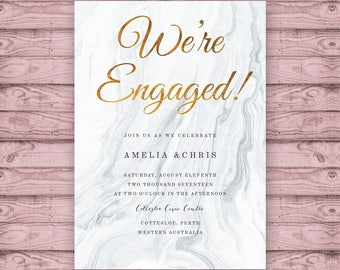 Gold and Marble Engagement Invitation - Print At Home File or Printed Invitations - Personalised Marble Engagement Invite with Gold