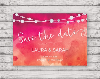 Watercolour Save the Date Postcard - Print At Home File or Printed Invitations - Pink Orange Watercolor Save The Date Postcard