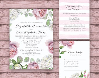 Floral Wedding Invitation Suite - Print at Home Files or Printed Invitations - Pink Rose Watercolour Personalised Wedding Invite Suite