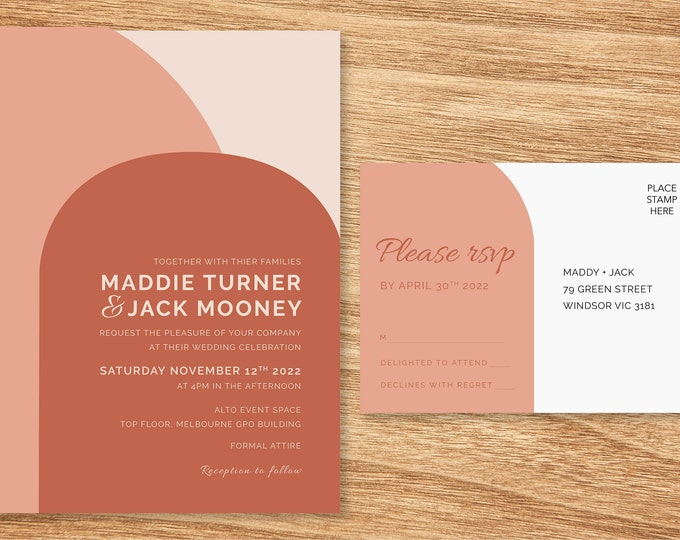 2 Piece Pink Terracotta Wedding Invitation Suite - Print at Home Files or Printed Invitations - Modern Arch Invitation and RSVP Postcard