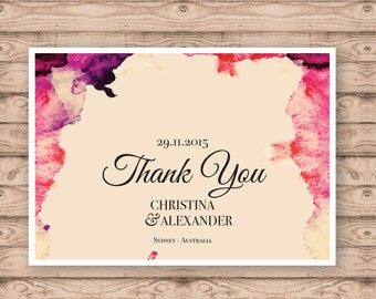 Watercolour Wedding Thank You Cards - Print At Home File or Printed Cards - Personalised Thank You Cards - Folded Card or Postcard Design