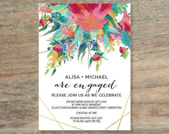 Watercolour Engagement Invitation - Print At Home File or Printed Invitations - Personalised Floral Watercolor Engagement Invite