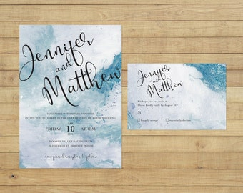 Marble Watercolour Wedding Invitation Suite - Print at Home Files or Printed Invitations - Blue Marble Watercolor Personalised Wedding Suite